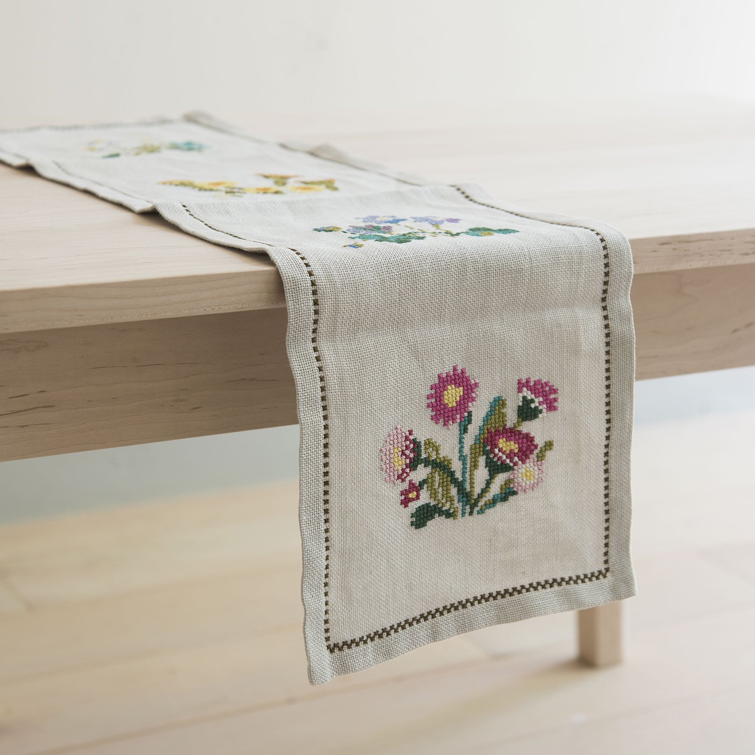 Swedish flower embroidery table runner