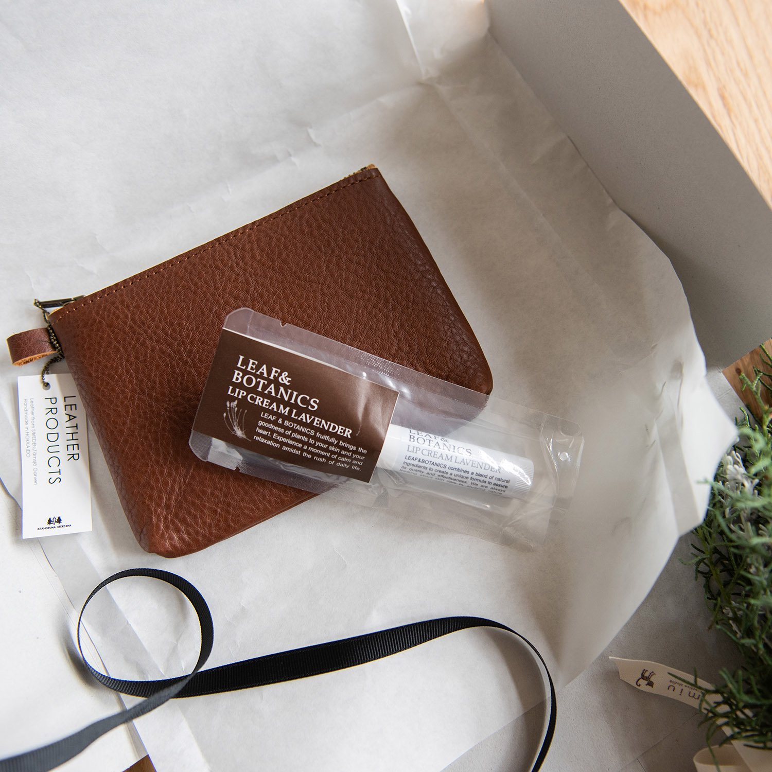 [GIFTSET]Leather pouch S & リップクリーム ギフトセット