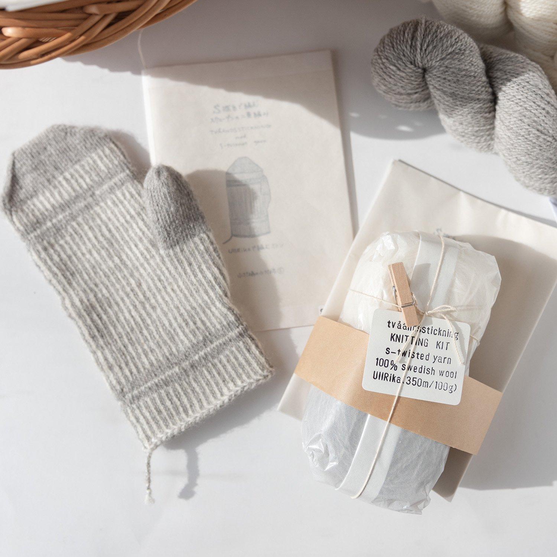 スウェーデンの二重編みミトンの手編みキット