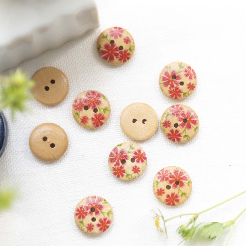 Vintage wood button pink flower