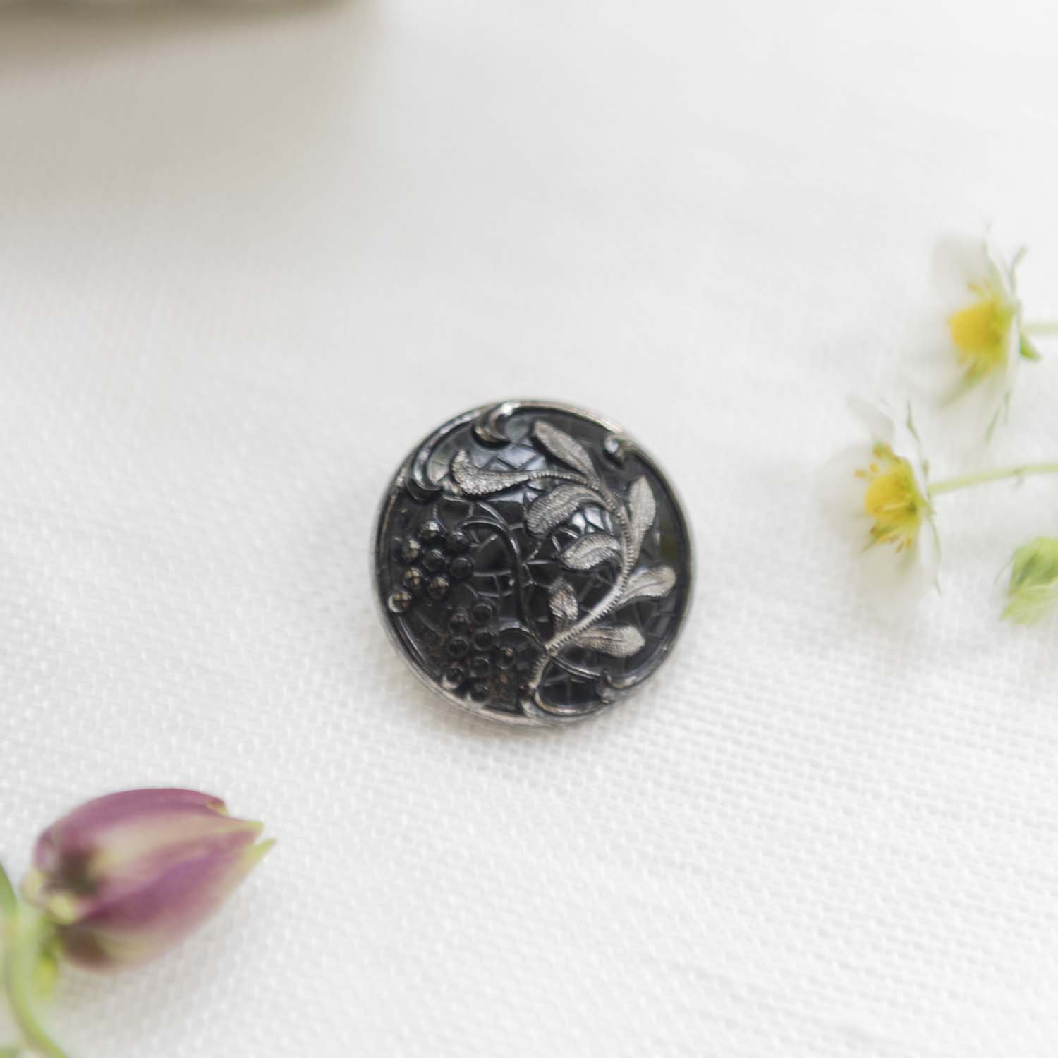 Vintage glass  button berry