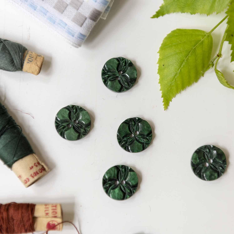 Vintage green button flower