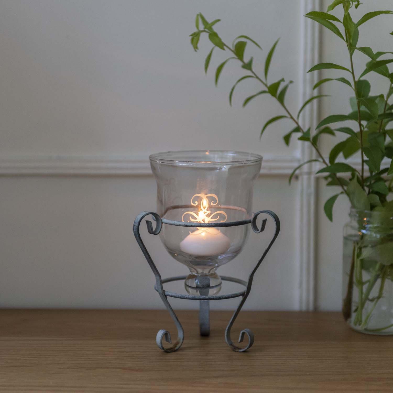 Vintage metal flame glass candle holder