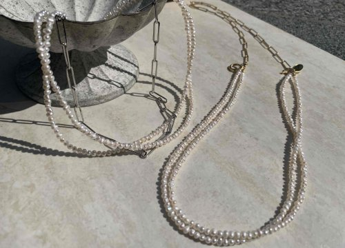 <img class='new_mark_img1' src='https://img.shop-pro.jp/img/new/icons13.gif' style='border:none;display:inline;margin:0px;padding:0px;width:auto;' />Double Freshwater pearl chain Mix Necklace