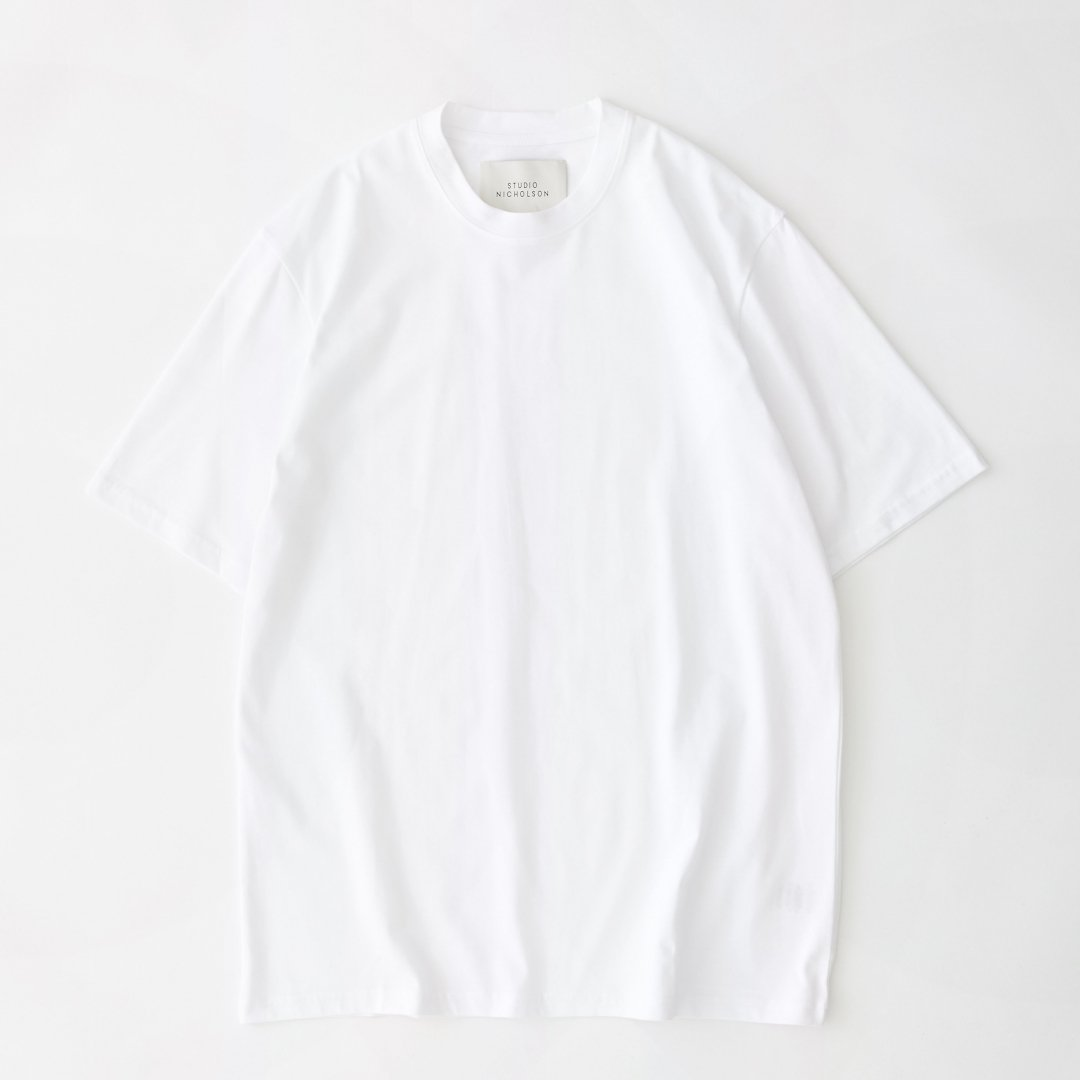 STUDIO NICHOLSON<br />LETRA T-SHIRT IN OPTIC WHITE
