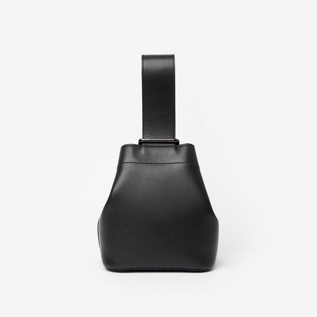 STUDIO NICHOLSON<br />NANO LEATHER MINI SLING BAG IN BLACK