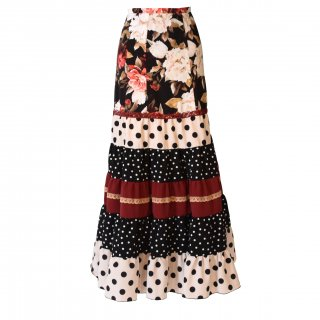 MF2011ティアードスカート<lantana >ブラック・ワイン花柄/水玉L-100<☆オーダー☆可!>【koigoromo】