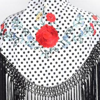 MAS007 刺繍ショール ホワイト・ブラック水玉/多色刺繍<1点のみクリックポスト便にて配送>