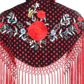 MAS007 刺繍ショール ブラック・レッド水玉/多色刺繍<1点のみクリックポスト便にて配送>