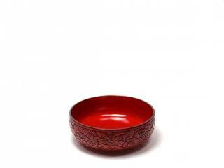 仙台堆朱 布袋鉢 牡丹彫
