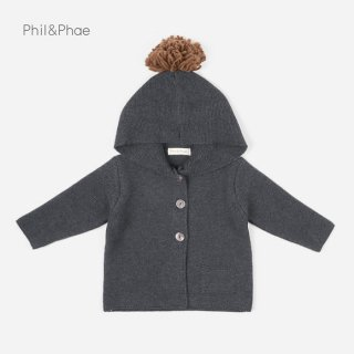 <img class='new_mark_img1' src='https://img.shop-pro.jp/img/new/icons8.gif' style='border:none;display:inline;margin:0px;padding:0px;width:auto;' />Phil&Phae   Pompon baby knit cardigan   Charcoal   6/12m