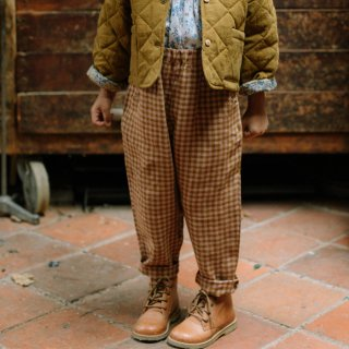 <img class='new_mark_img1' src='https://img.shop-pro.jp/img/new/icons7.gif' style='border:none;display:inline;margin:0px;padding:0px;width:auto;' />NELLIE QUATS   Jumping Jack Trousers   Rose & Caramel Check Linen   18-24m〜7-8y