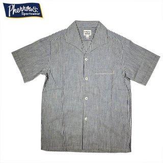 フェローズ PHERROWS 21S-PICS1 イタリアンカラー オープンシャツ ストライプ インディゴ 半袖 シャツ