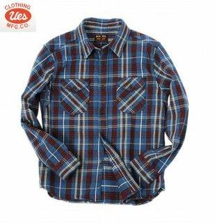 ウエス UES 502151 先染ヘビーネルシャツ 長袖シャツ ボタンシャツ
