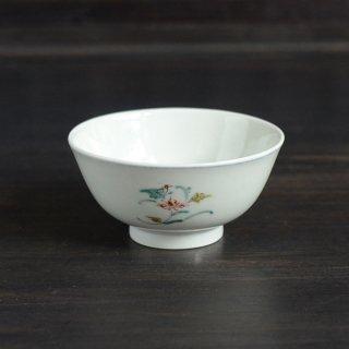 渡邊心平 色絵草花文飯碗