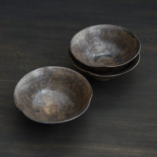 高木剛 鉄釉4.5寸輪花鉢