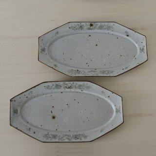 市野吉記 いろ安南尺寸八角楕円皿 径29.5cm×16cm 高さ2cm