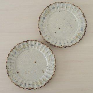 市野吉記 いろ安南7寸輪花皿 径21cm 高さ1.5cm