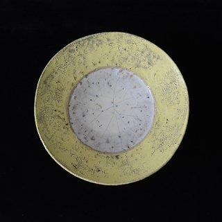 片瀬和宏 5寸皿 黄色×白+青 径16cm 高さ4cm