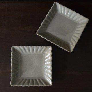 土井善男 薄墨四方輪花板皿 径14.5cm×14.5cm 高さ3cm