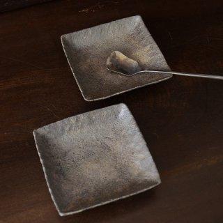 井内素 四角小皿 灰 10cm×10cm 高さ2cm