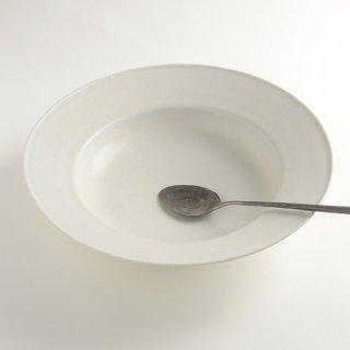 土井善男 緑白釉8寸リム鉢 径25.5cm 高さ6cm
