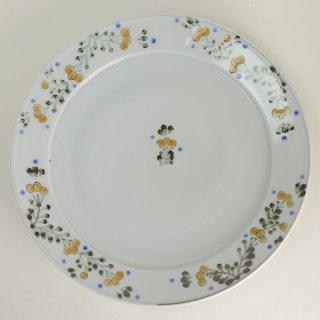 清水なお子 色絵鉄枇杷唐草9寸リム皿 径27.5cm  高さ3.5cm