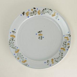 清水なお子 色絵鉄枇杷唐草7.5寸リム皿 径23cm  高さ3cm