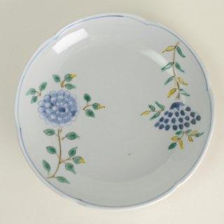 清水なお子 色絵花唐草5.5寸皿 径17cm  高さ3.5cm
