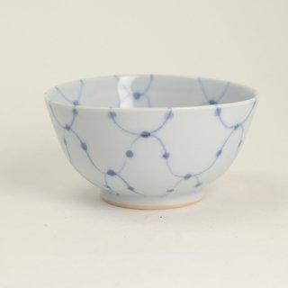 清水なお子 染付夫婦茶碗網目水玉文 小 径11cm  高さ5.5cm
