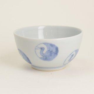 清水なお子 染付飯碗鶴丸文  径11cm  高さ5.5cm