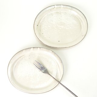 角掛政志 粉引楕円皿 w20cm d16.5cm h2.5cm