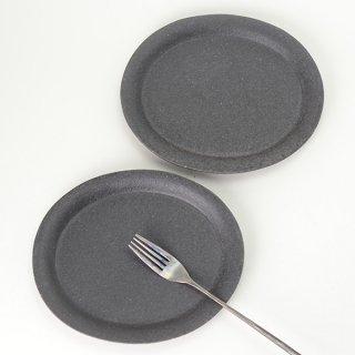 角掛政志 黒楕円皿 w20cm d16.5cm h2.5cm