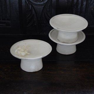 高木剛 粉引4.5寸高台皿 φ14cm 高さ6.5cm