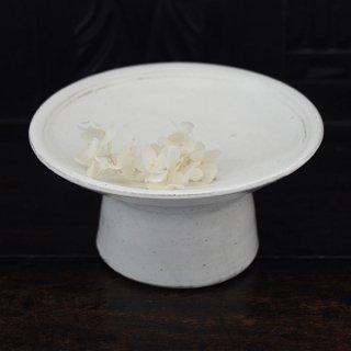 高木剛 粉引6寸高台皿 φ18.5cm 高さ9.5cm