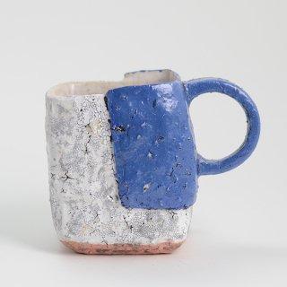 片瀬和宏 マグカップ H 貼りタイプ 青×白 φ9cm H9cm 200ml