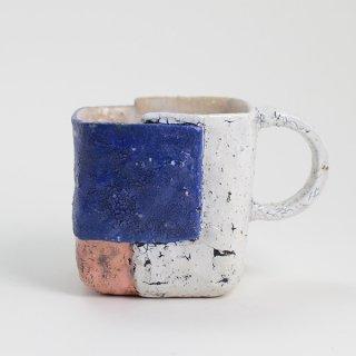 片瀬和宏 マグカップ G 貼りタイプ 青×ピンク×白 φ9.5cm H8cm 200ml