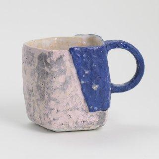 片瀬和宏 マグカップ E 貼りタイプ  青×ピンク φ8.5cm H9.5cm 200ml