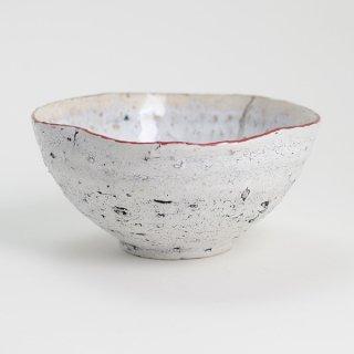 片瀬和宏 輪花小鉢 G 白×白 縁ピンク φ12.5cm H6cm