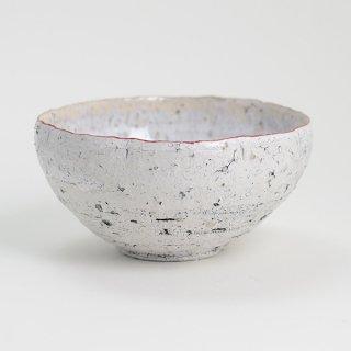 片瀬和宏 輪花小鉢 F 白×白 縁ピンク φ12cm H6cm