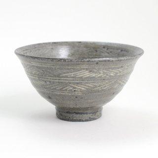 増田勉 彫三島飯碗 大 径13.5cm  高さ7cm