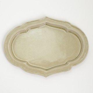 櫻井薫 菓子皿 大 灰釉黄 B φ28cmx21cm  H2cm