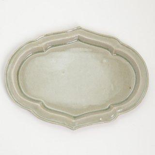 櫻井薫 菓子皿 大 灰釉緑 A φ28cmx21cm  H2cm