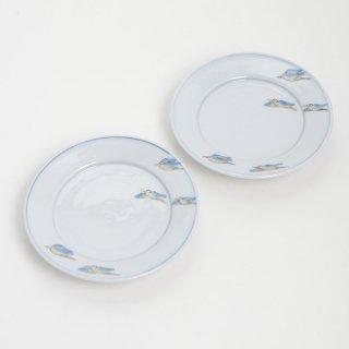 清水なお子 色絵鳥文4寸リム皿 φ12.5cm H2.5cm