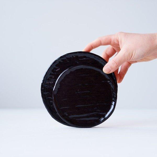 石木花の皿|3L|銅黒