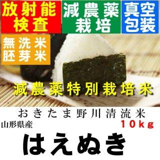 令和3年産 野川清流米 特別栽培米山形県産はえぬき 玄米10kg 精米・送料無料