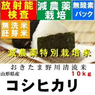 令和3年産 野川清流米特別栽培米 山形県産コシヒカリ 玄米10kg 精米・送料無料