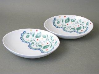有田焼 森のミモザ 楕円浅鉢(2枚組)