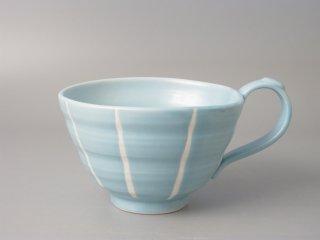 スープカップ 水色十草