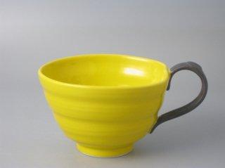 スープカップ イエロー(取っ手黒)